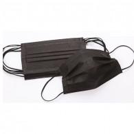 Маски трехслойные в пачке на резинке, Черные, 50 шт